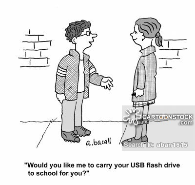 'Would you like me to carry your USB flash drive to school for you?'